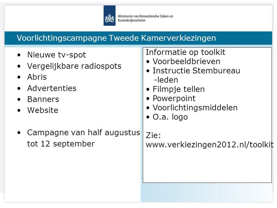 Titel van de presentatie Voorlichtingscampagne Tweede Kamerverkiezingen Nieuwe tv-spot Vergelijkbare radiospots Abris Advertenties Banners Website Cam