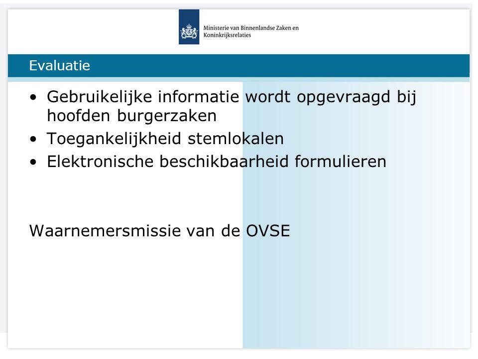 Titel van de presentatie Evaluatie Gebruikelijke informatie wordt opgevraagd bij hoofden burgerzaken Toegankelijkheid stemlokalen Elektronische beschikbaarheid formulieren Waarnemersmissie van de OVSE