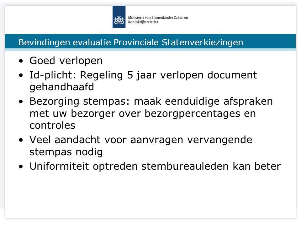 Titel van de presentatie Bevindingen evaluatie Provinciale Statenverkiezingen Goed verlopen Id-plicht: Regeling 5 jaar verlopen document gehandhaafd B