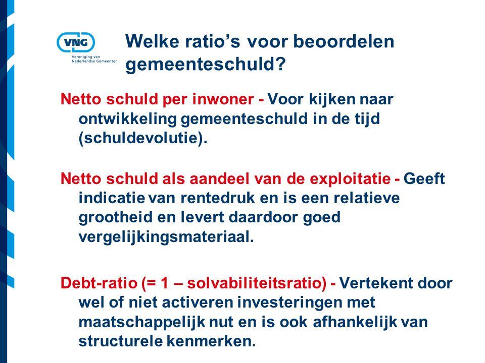 Vereniging van Nederlandse Gemeenten Welke ratio's voor beoordelen gemeenteschuld.