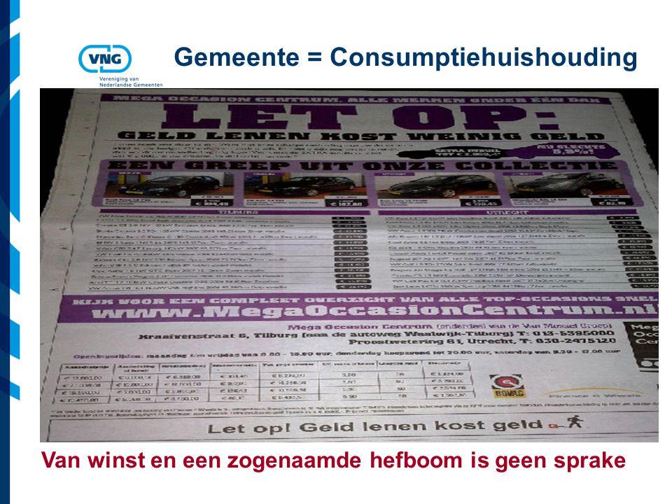 Vereniging van Nederlandse Gemeenten Gemeente = Consumptiehuishouding Van winst en een zogenaamde hefboom is geen sprake