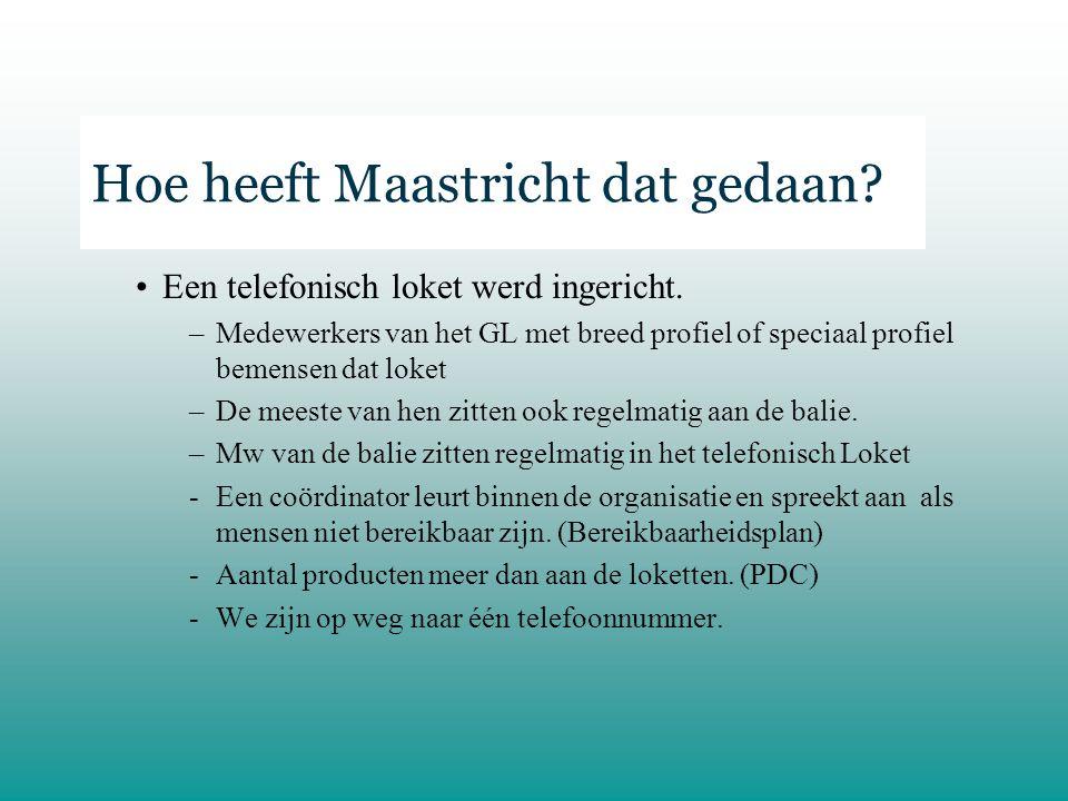 Hoe heeft Maastricht dat gedaan.Een telefonisch loket werd ingericht.