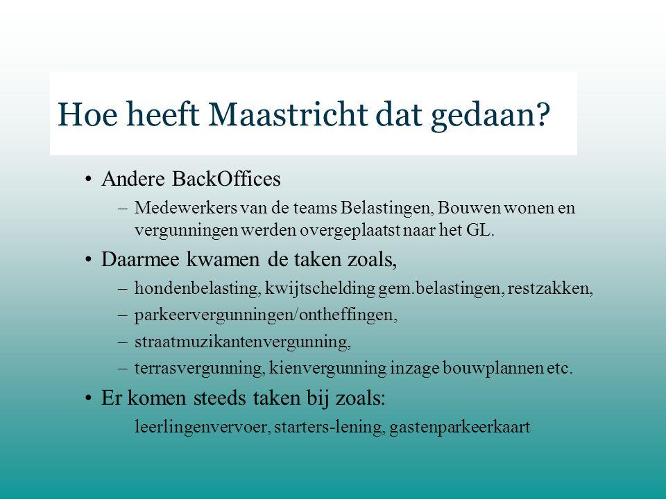 Hoe heeft Maastricht dat gedaan.–De nieuwe GL medewerkers kregen allen de bulk BZ taken geleerd.