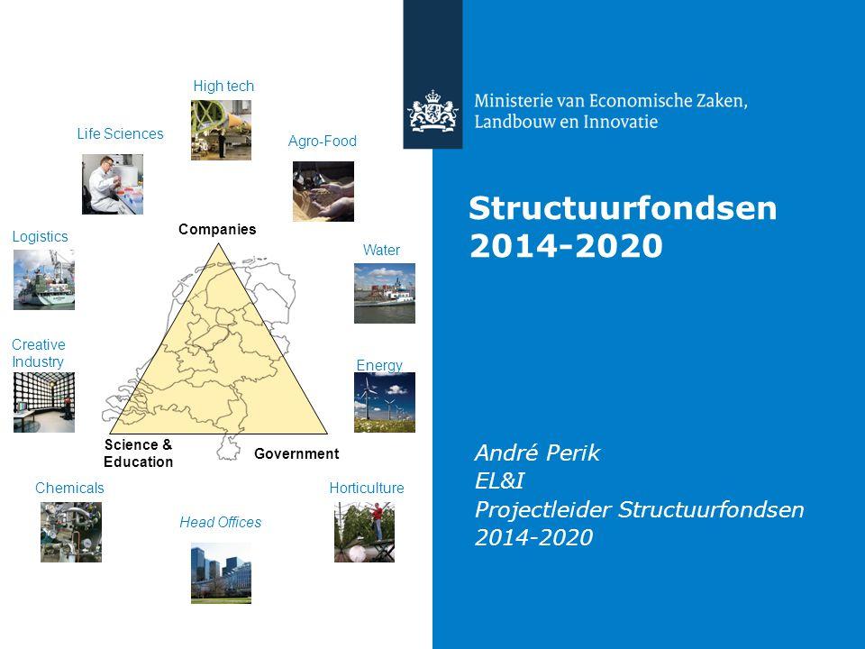 Structuurfondsen 2014-2020 André Perik EL&I Projectleider Structuurfondsen 2014-2020 High tech Life Sciences Agro-Food Logistics Chemicals Creative In