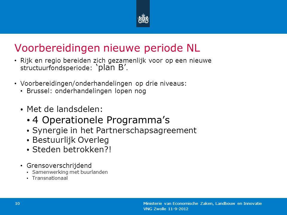 VNG Zwolle 11-9-2012 Ministerie van Economische Zaken, Landbouw en Innovatie 10 Voorbereidingen nieuwe periode NL Rijk en regio bereiden zich gezamenl