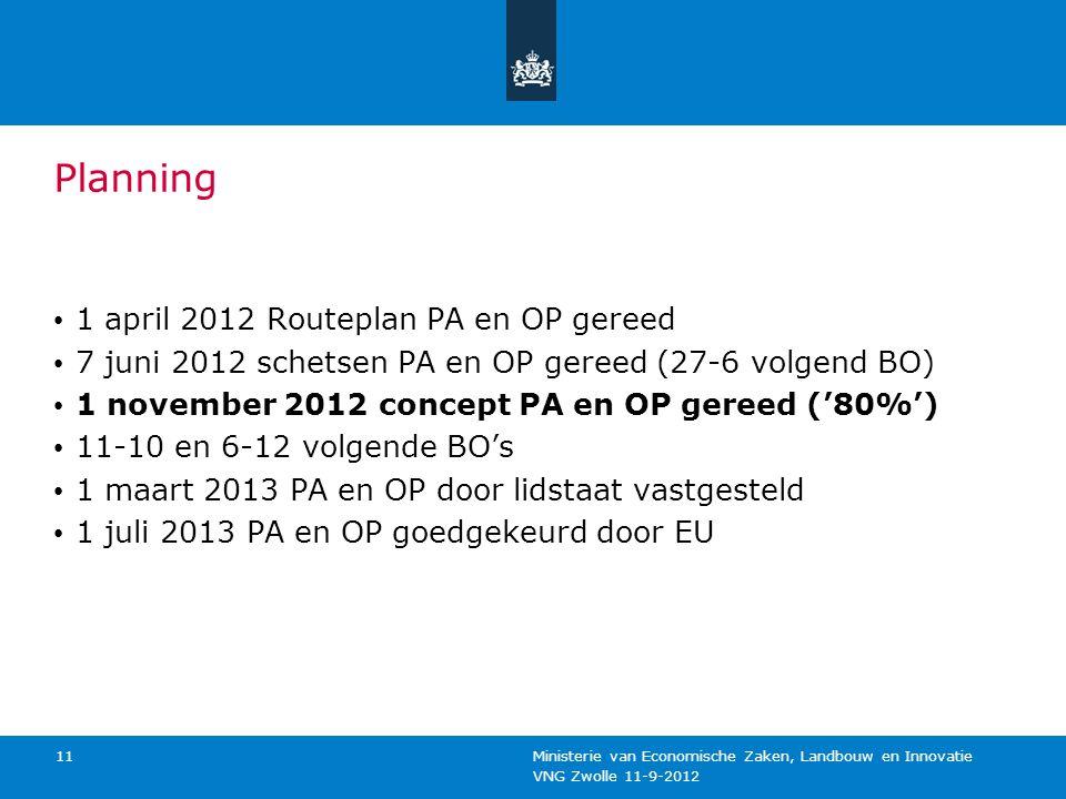 VNG Zwolle 11-9-2012 Ministerie van Economische Zaken, Landbouw en Innovatie 11 Planning 1 april 2012 Routeplan PA en OP gereed 7 juni 2012 schetsen P