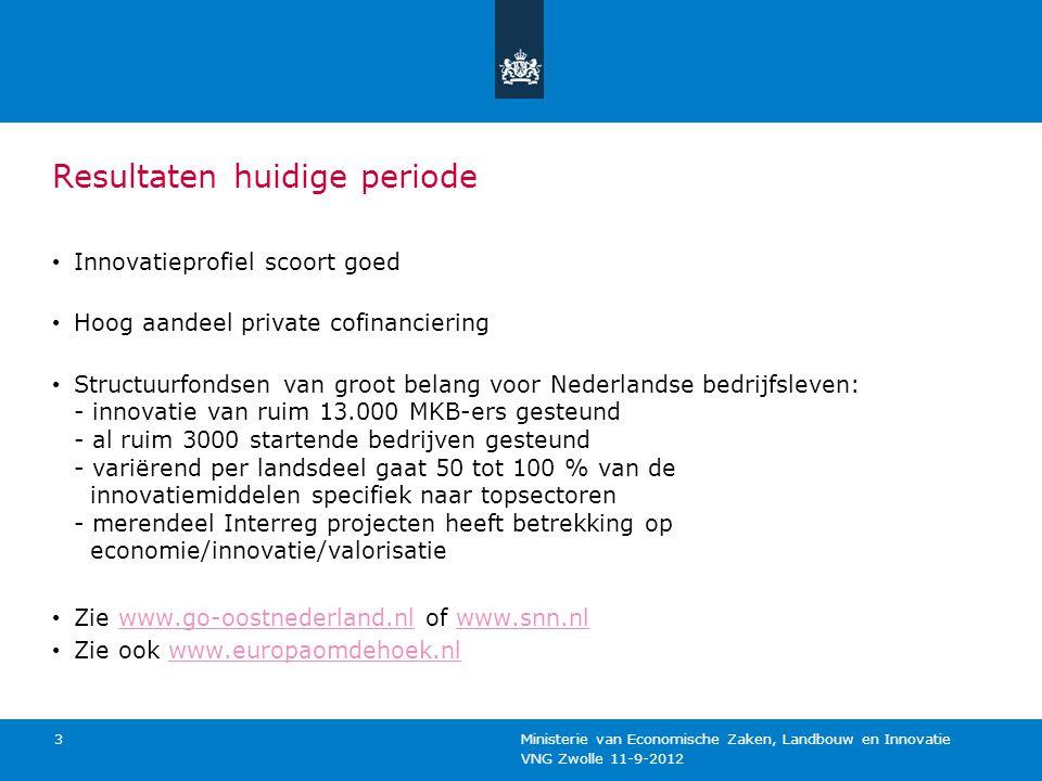 VNG Zwolle 11-9-2012 Ministerie van Economische Zaken, Landbouw en Innovatie 3 Resultaten huidige periode Innovatieprofiel scoort goed Hoog aandeel pr