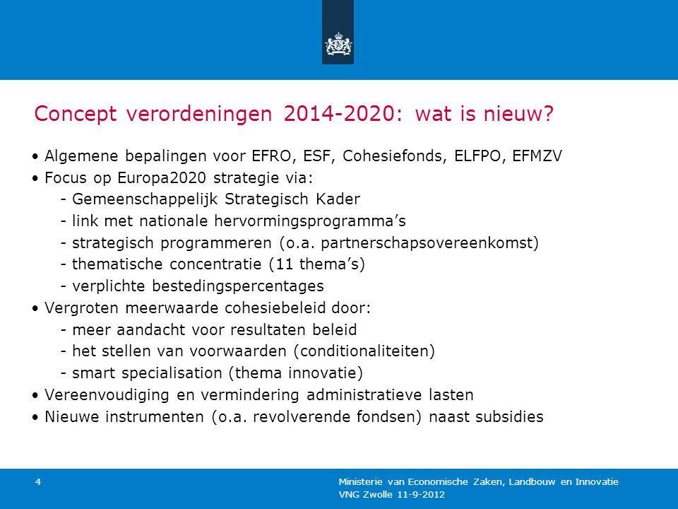 VNG Zwolle 11-9-2012 Ministerie van Economische Zaken, Landbouw en Innovatie 5 Gemeenschappelijk Strategisch Kader (GSK) Eén kader voor de verschillende fondsen Uitwerking van de 11 thema's in 'key actions' Hulpmiddel: - om verschillende EU fondsen en EU instrumenten te combineren - bij opstellen van partnerschapsovereenkomst Moedigt gebruik instrumenten territoriale ontwikkeling aan Uitwerking horizontale thema's (gelijke behandeling, duurzaamheid)