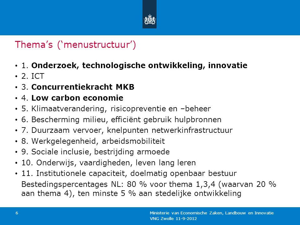 VNG Zwolle 11-9-2012 Ministerie van Economische Zaken, Landbouw en Innovatie 7 Partnerschapsagreement Parapludocument tbv Operationele Programma's (ESF, EFRO, ELFPO, EFMFV) Opvolger van NSR Opstellen in wisselwerking met OP's Synergie Opstellen met partners : bedrijven, kennisinstellingen, overheden, maatschappelijke en sociale partners Volgens EU- format (idem OP)