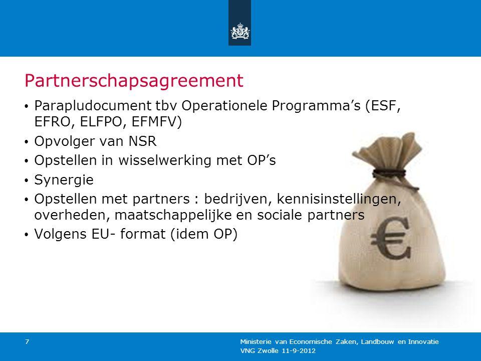 VNG Zwolle 11-9-2012 Ministerie van Economische Zaken, Landbouw en Innovatie 7 Partnerschapsagreement Parapludocument tbv Operationele Programma's (ES