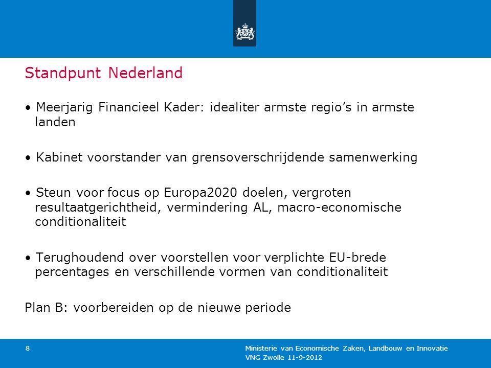 VNG Zwolle 11-9-2012 Ministerie van Economische Zaken, Landbouw en Innovatie 9 Inzet Nederland moet als ontwikkeld land dus inzetten op: Versterking van onderzoek, technologische ontwikkeling en innovatie Vergroting van de concurrentiekracht van het MKB Low-carbon economy: hernieuwbare energie en energie- efficiëntie