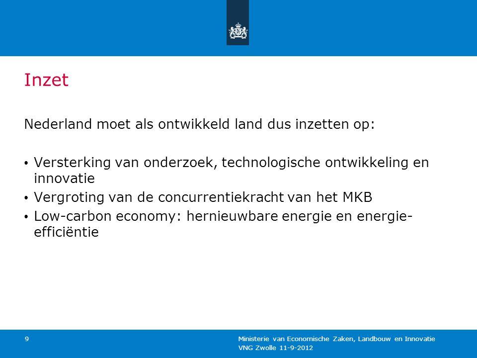 VNG Zwolle 11-9-2012 Ministerie van Economische Zaken, Landbouw en Innovatie 9 Inzet Nederland moet als ontwikkeld land dus inzetten op: Versterking v