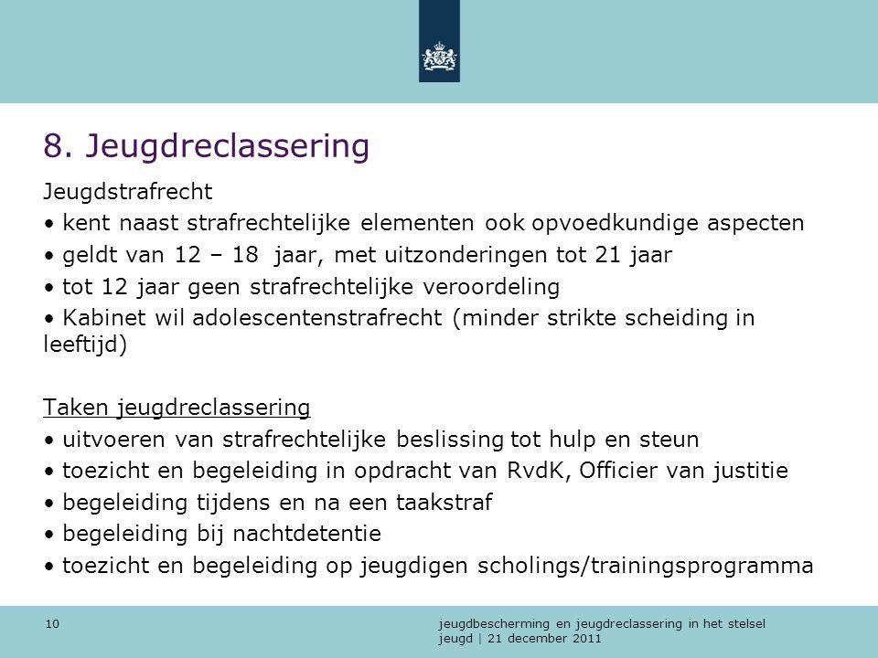 jeugdbescherming en jeugdreclassering in het stelsel jeugd | 21 december 2011 10 8. Jeugdreclassering Jeugdstrafrecht kent naast strafrechtelijke elem