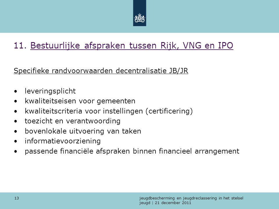 jeugdbescherming en jeugdreclassering in het stelsel jeugd | 21 december 2011 13 11. Bestuurlijke afspraken tussen Rijk, VNG en IPO Specifieke randvoo