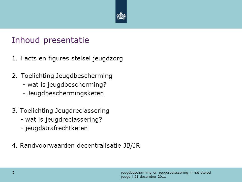 jeugdbescherming en jeugdreclassering in het stelsel jeugd | 21 december 2011 2 Inhoud presentatie 1.Facts en figures stelsel jeugdzorg 2.Toelichting
