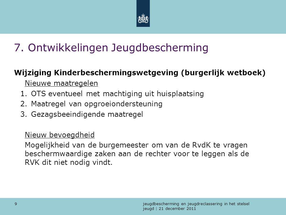jeugdbescherming en jeugdreclassering in het stelsel jeugd | 21 december 2011 9 7. Ontwikkelingen Jeugdbescherming Wijziging Kinderbeschermingswetgevi