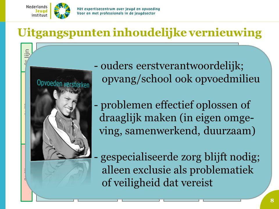 8 Voorzieningen gewone opgroeien en opvoeden jeugdigen Signalering opgroei- en opvoedproblemen Indicatie voor specialistische hulp / maatregel Jeugd-G