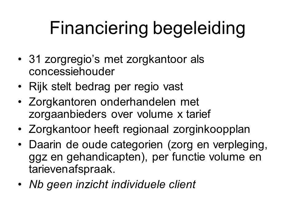 Problemen AWBZ Kostenstijging –1998 13 miljard – 2010 25 miljard Toename financiering informele zorg(PGB) –1995 0 -2010 2.7 miljard, komt erbij in plaats van Bureaucratie Kwaliteit.