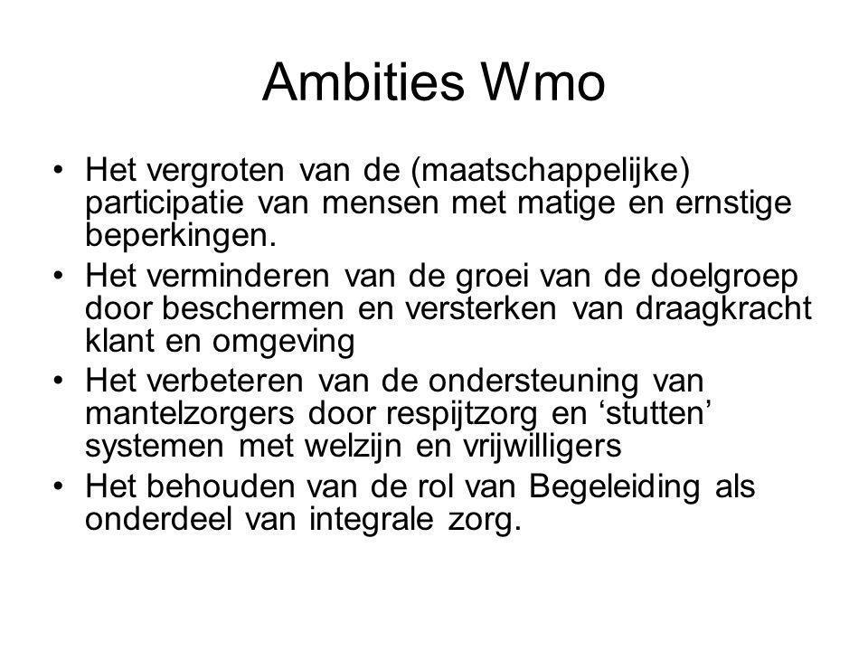 Ambities Wmo Het vergroten van de (maatschappelijke) participatie van mensen met matige en ernstige beperkingen.