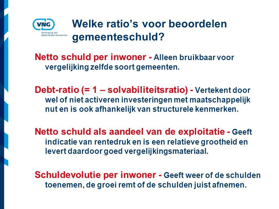 Vereniging van Nederlandse Gemeenten Welke ratio's voor beoordelen gemeenteschuld? Netto schuld per inwoner - Alleen bruikbaar voor vergelijking zelfd