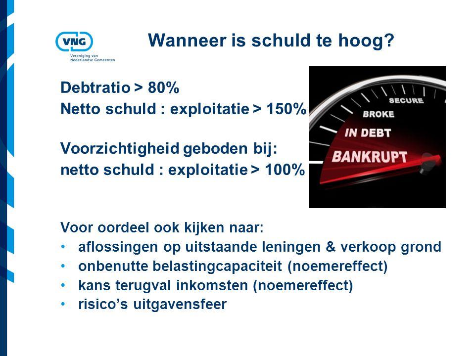 Vereniging van Nederlandse Gemeenten Wanneer is schuld te hoog? Debtratio > 80% Netto schuld : exploitatie > 150% Voorzichtigheid geboden bij: netto s