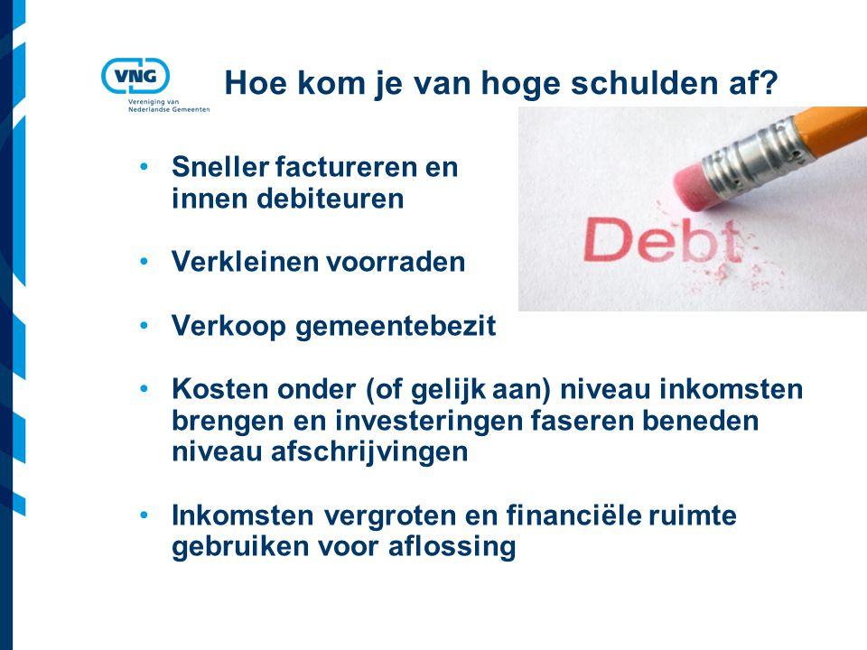 Vereniging van Nederlandse Gemeenten Hoe kom je van hoge schulden af? Sneller factureren en innen debiteuren Verkleinen voorraden Verkoop gemeentebezi