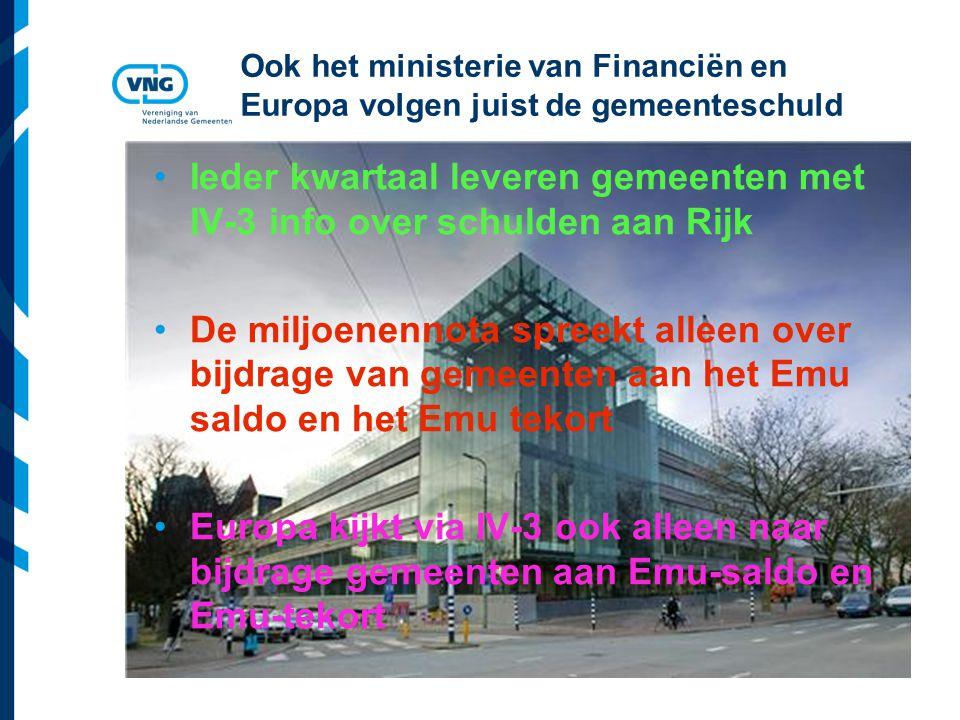 Vereniging van Nederlandse Gemeenten Ook het ministerie van Financiën en Europa volgen juist de gemeenteschuld Ieder kwartaal leveren gemeenten met IV