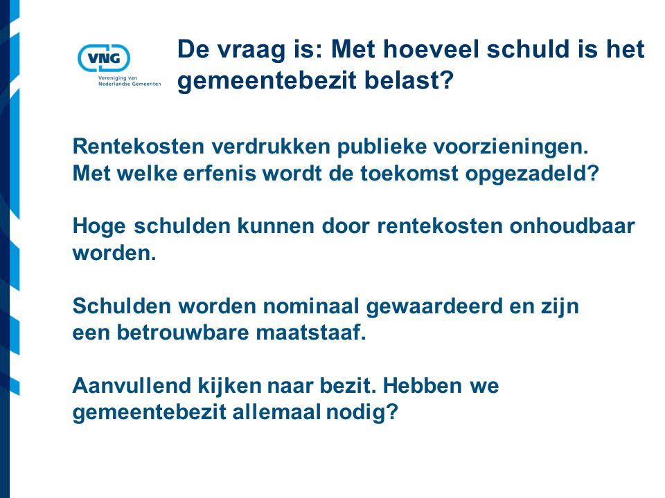 Vereniging van Nederlandse Gemeenten De vraag is: Met hoeveel schuld is het gemeentebezit belast? Rentekosten verdrukken publieke voorzieningen. Met w
