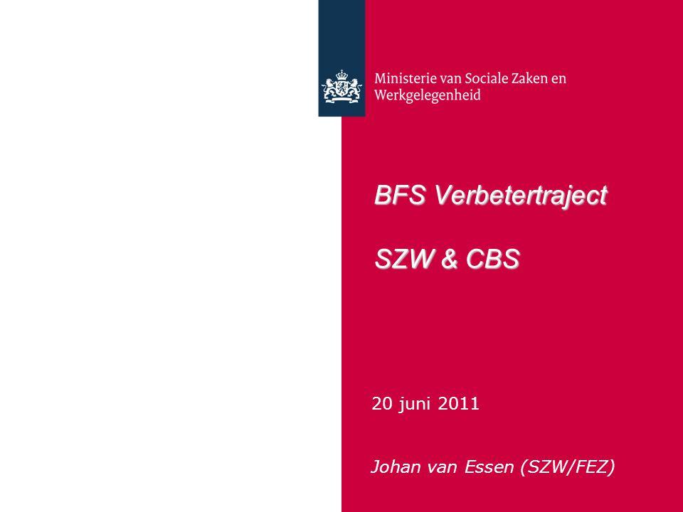 BFS Verbetertraject SZW & CBS 20 juni 2011 Johan van Essen (SZW/FEZ)