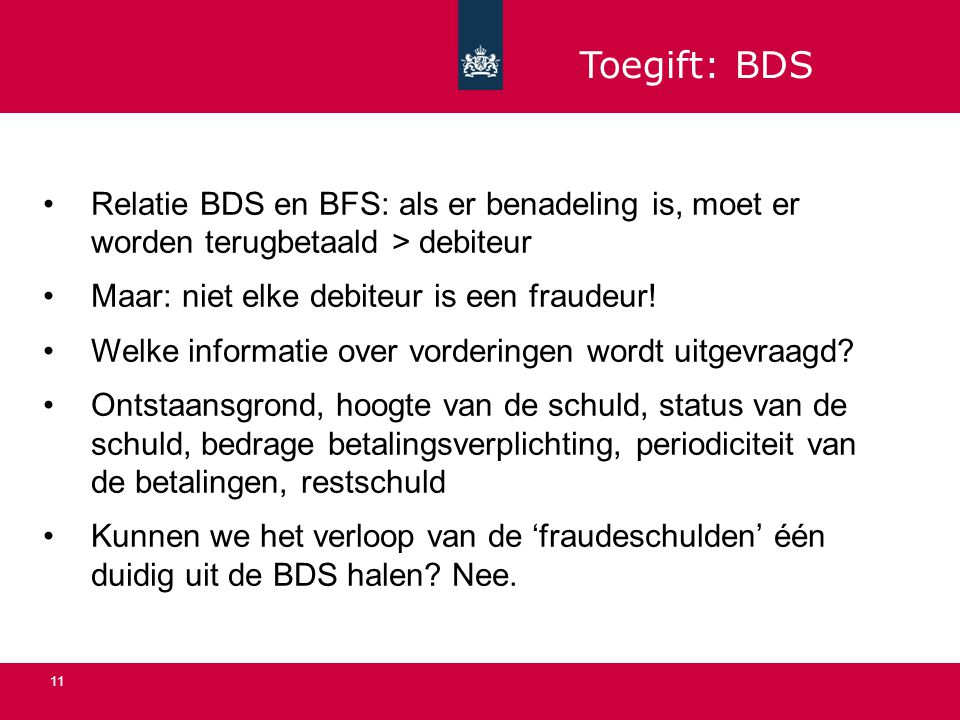 11 Relatie BDS en BFS: als er benadeling is, moet er worden terugbetaald > debiteur Maar: niet elke debiteur is een fraudeur.