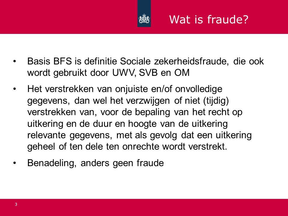 3 Basis BFS is definitie Sociale zekerheidsfraude, die ook wordt gebruikt door UWV, SVB en OM Het verstrekken van onjuiste en/of onvolledige gegevens, dan wel het verzwijgen of niet (tijdig) verstrekken van, voor de bepaling van het recht op uitkering en de duur en hoogte van de uitkering relevante gegevens, met als gevolg dat een uitkering geheel of ten dele ten onrechte wordt verstrekt.