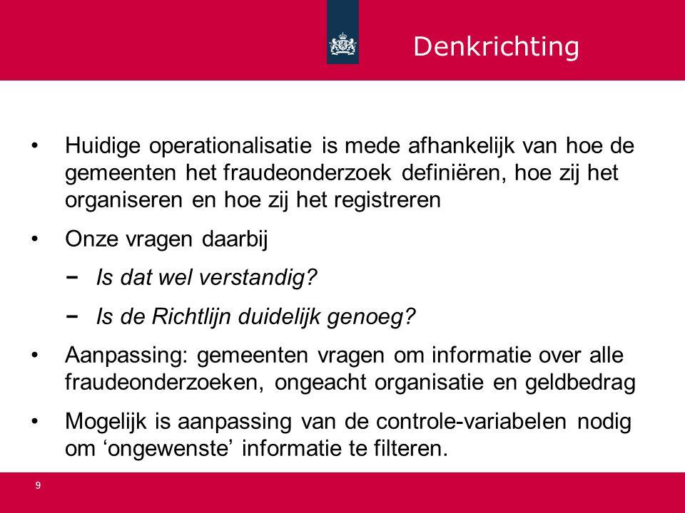 9 Huidige operationalisatie is mede afhankelijk van hoe de gemeenten het fraudeonderzoek definiëren, hoe zij het organiseren en hoe zij het registreren Onze vragen daarbij Is dat wel verstandig.