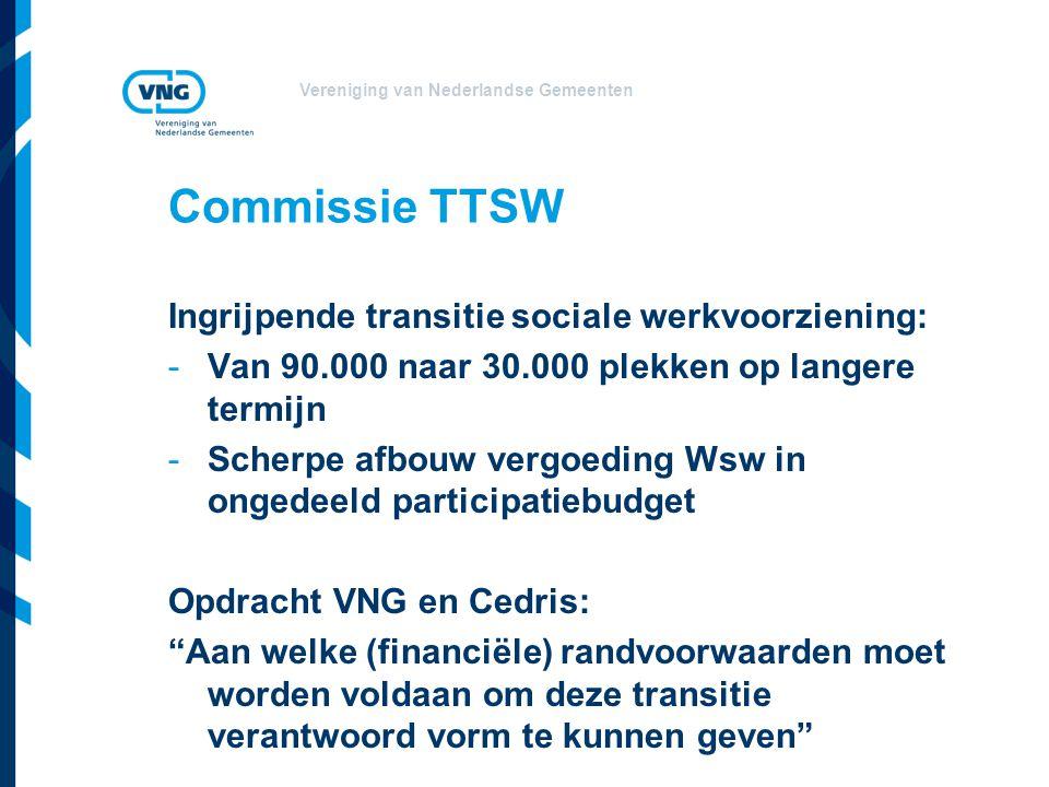 Vereniging van Nederlandse Gemeenten Commissie TTSW Ingrijpende transitie sociale werkvoorziening: -Van 90.000 naar 30.000 plekken op langere termijn -Scherpe afbouw vergoeding Wsw in ongedeeld participatiebudget Opdracht VNG en Cedris: Aan welke (financiële) randvoorwaarden moet worden voldaan om deze transitie verantwoord vorm te kunnen geven