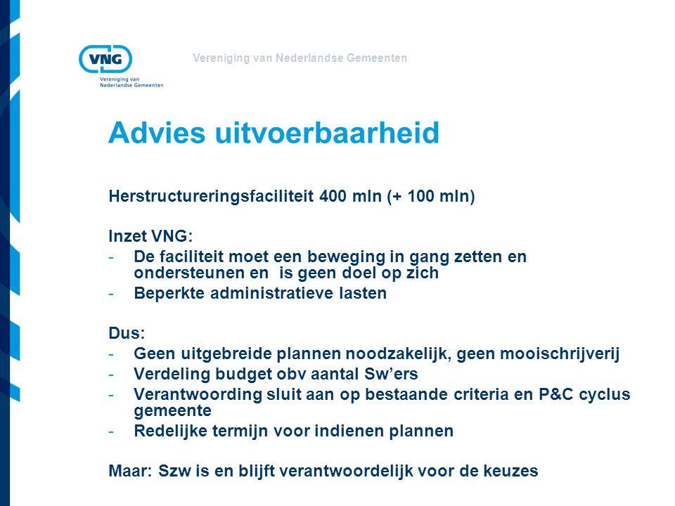 Vereniging van Nederlandse Gemeenten Advies uitvoerbaarheid Herstructureringsfaciliteit 400 mln (+ 100 mln) Inzet VNG: -De faciliteit moet een bewegin