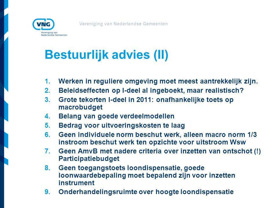 Vereniging van Nederlandse Gemeenten Bestuurlijk advies (II) 1.Werken in reguliere omgeving moet meest aantrekkelijk zijn. 2.Beleidseffecten op I-deel