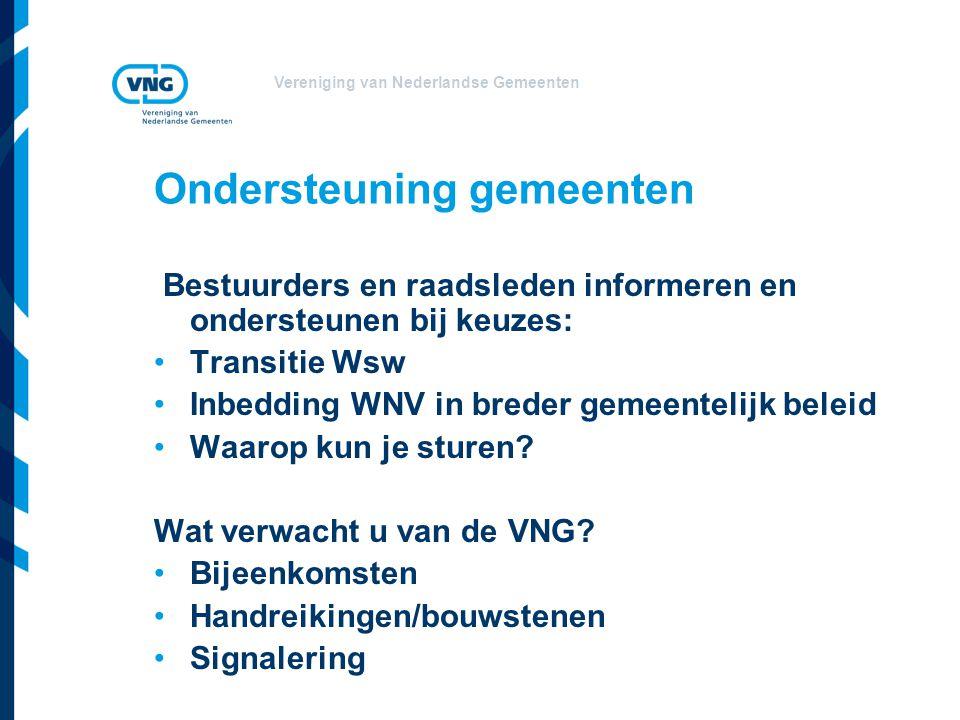 Vereniging van Nederlandse Gemeenten Ondersteuning gemeenten Bestuurders en raadsleden informeren en ondersteunen bij keuzes: Transitie Wsw Inbedding