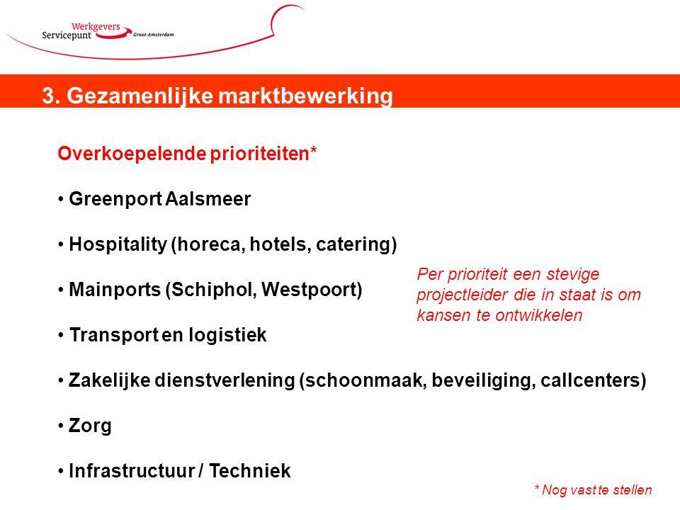 3. Gezamenlijke marktbewerking Overkoepelende prioriteiten* Greenport Aalsmeer Hospitality (horeca, hotels, catering) Mainports (Schiphol, Westpoort)