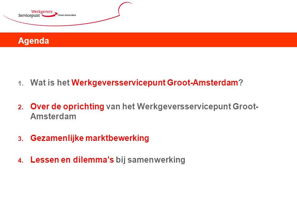Agenda 1. Wat is het Werkgeversservicepunt Groot-Amsterdam? 2. Over de oprichting van het Werkgeversservicepunt Groot- Amsterdam 3. Gezamenlijke markt