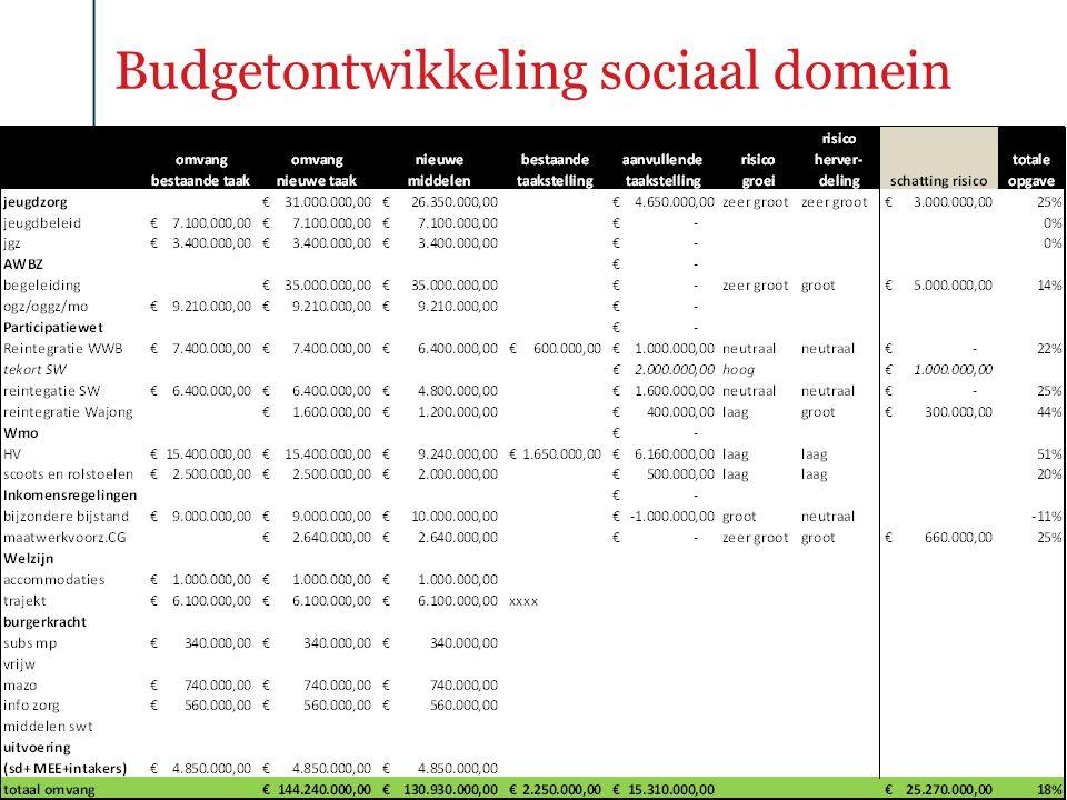 Budgetontwikkeling sociaal domein