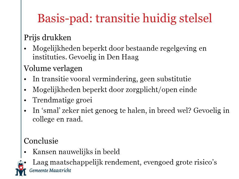 Basis-pad: transitie huidig stelsel Prijs drukken Mogelijkheden beperkt door bestaande regelgeving en instituties. Gevoelig in Den Haag Volume verlage