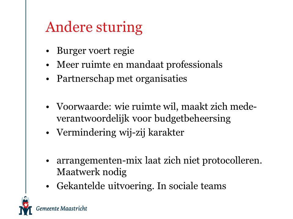 Andere sturing Burger voert regie Meer ruimte en mandaat professionals Partnerschap met organisaties Voorwaarde: wie ruimte wil, maakt zich mede- vera
