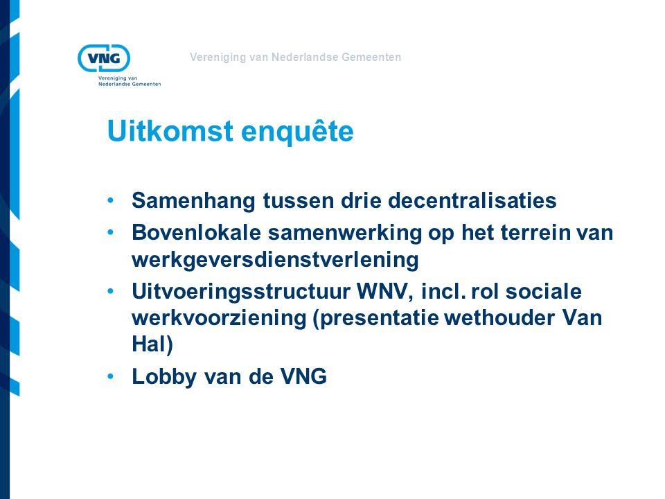 Vereniging van Nederlandse Gemeenten Uitkomst enquête Samenhang tussen drie decentralisaties Bovenlokale samenwerking op het terrein van werkgeversdienstverlening Uitvoeringsstructuur WNV, incl.