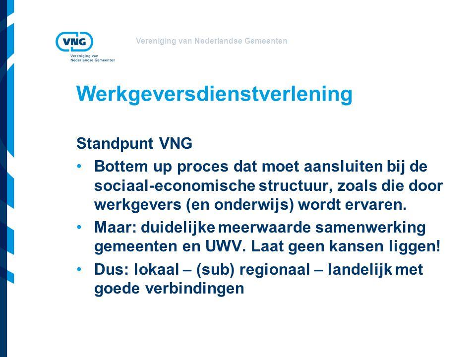 Vereniging van Nederlandse Gemeenten Werkgeversdienstverlening Standpunt VNG Bottem up proces dat moet aansluiten bij de sociaal-economische structuur, zoals die door werkgevers (en onderwijs) wordt ervaren.