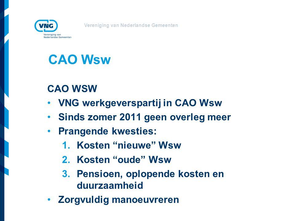 Vereniging van Nederlandse Gemeenten CAO Wsw CAO WSW VNG werkgeverspartij in CAO Wsw Sinds zomer 2011 geen overleg meer Prangende kwesties: 1.Kosten nieuwe Wsw 2.Kosten oude Wsw 3.Pensioen, oplopende kosten en duurzaamheid Zorgvuldig manoeuvreren