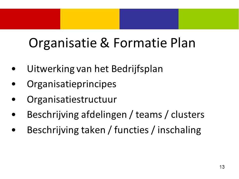 13 Organisatie & Formatie Plan Uitwerking van het Bedrijfsplan Organisatieprincipes Organisatiestructuur Beschrijving afdelingen / teams / clusters Be