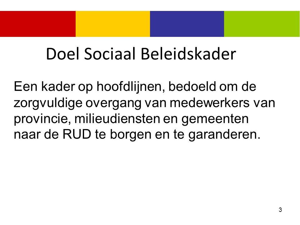 3 Doel Sociaal Beleidskader Een kader op hoofdlijnen, bedoeld om de zorgvuldige overgang van medewerkers van provincie, milieudiensten en gemeenten na