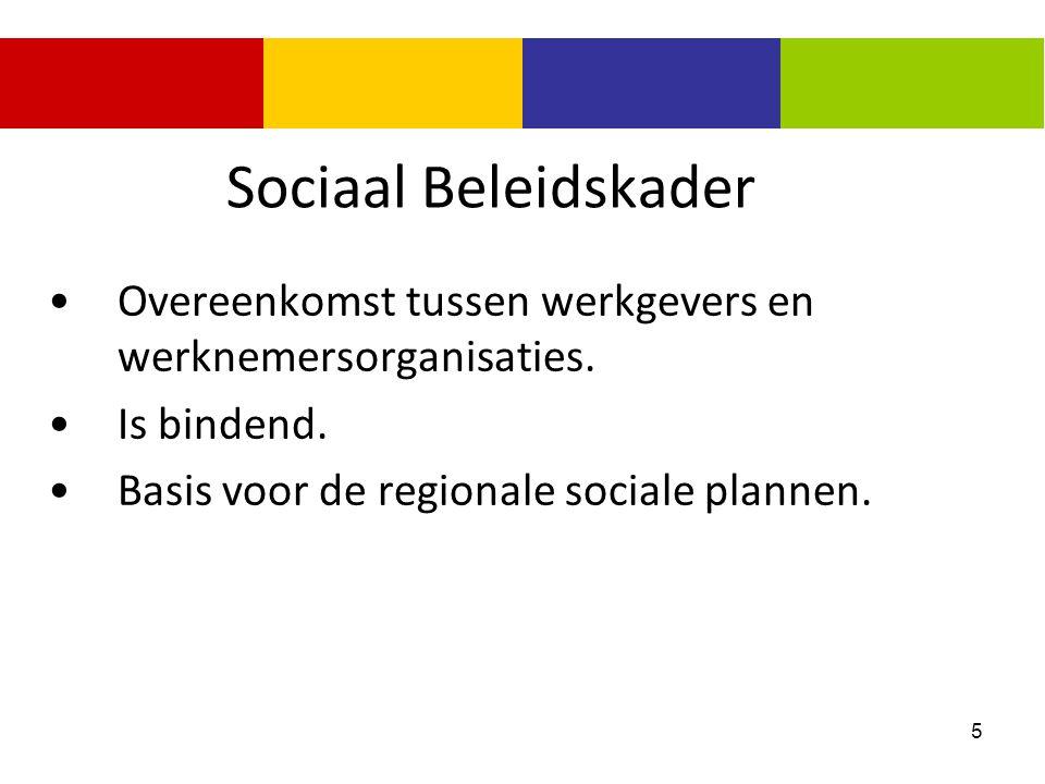 5 Sociaal Beleidskader Overeenkomst tussen werkgevers en werknemersorganisaties. Is bindend. Basis voor de regionale sociale plannen.