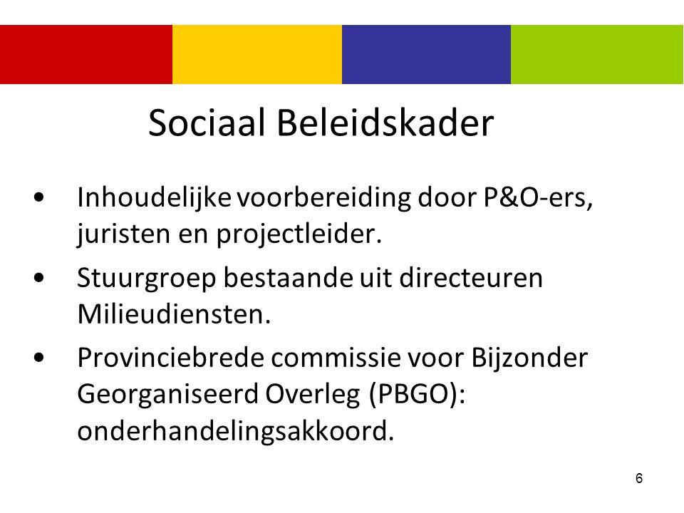 6 Sociaal Beleidskader Inhoudelijke voorbereiding door P&O-ers, juristen en projectleider. Stuurgroep bestaande uit directeuren Milieudiensten. Provin