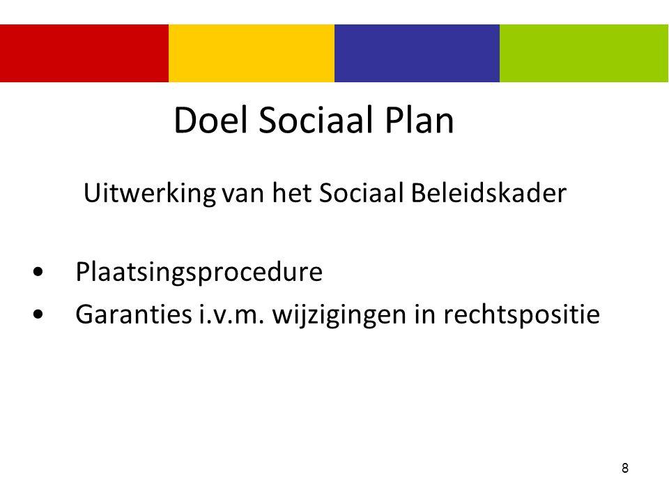 8 Doel Sociaal Plan Uitwerking van het Sociaal Beleidskader Plaatsingsprocedure Garanties i.v.m. wijzigingen in rechtspositie