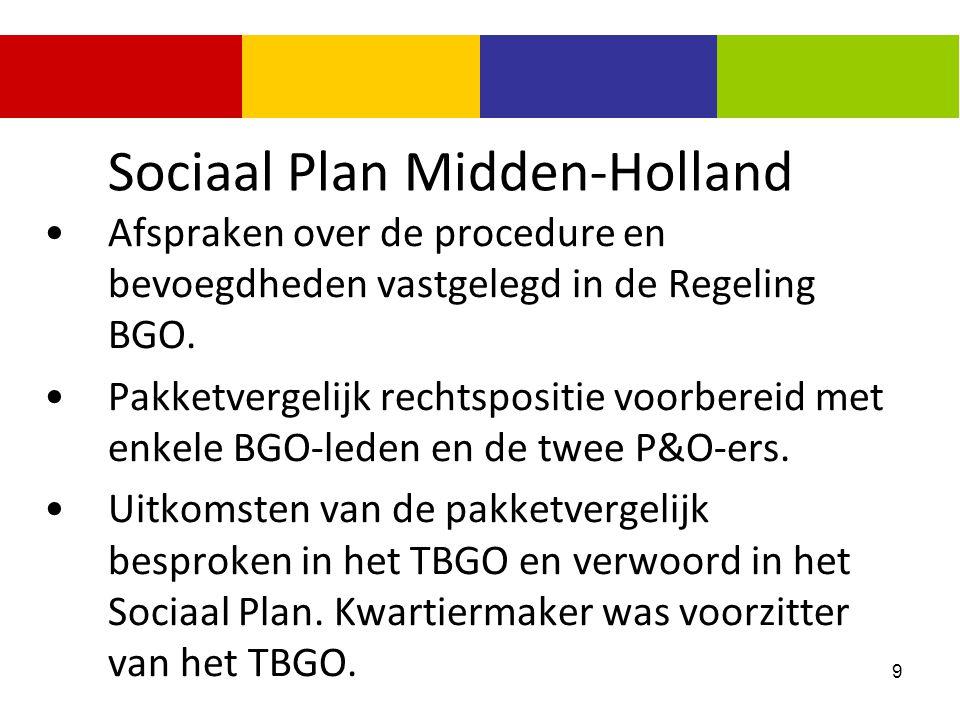 9 Sociaal Plan Midden-Holland Afspraken over de procedure en bevoegdheden vastgelegd in de Regeling BGO. Pakketvergelijk rechtspositie voorbereid met